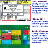 Windows 1 vs Windows 8